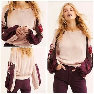 Free People Rose Combo Ballon Sleeves Thermal Top